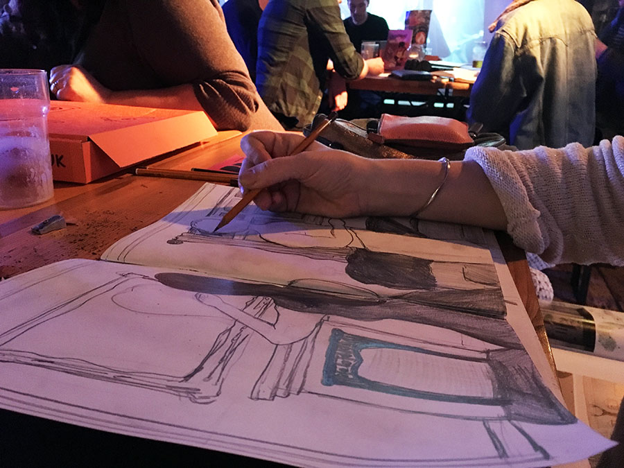Drink and Draw session