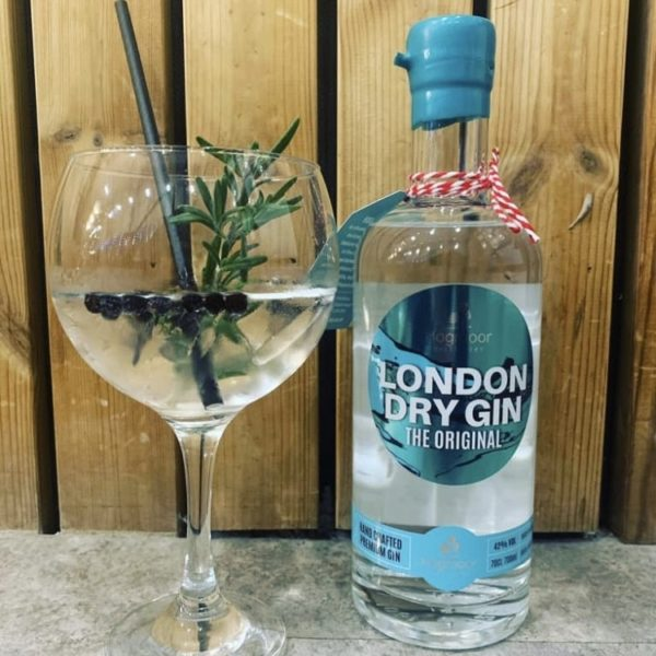 london dry gin bottle and glass