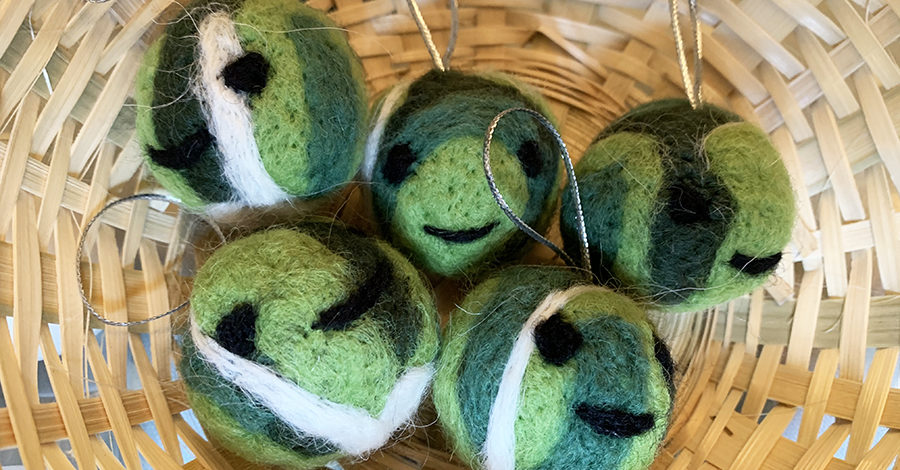 Needle felted Brussel Sprouts